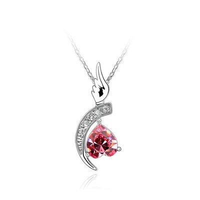 925純銀項鍊水晶吊墜 ~鑲鑽迷人單翼天使情人節生日 女飾品6色73bb336~ ~~米蘭