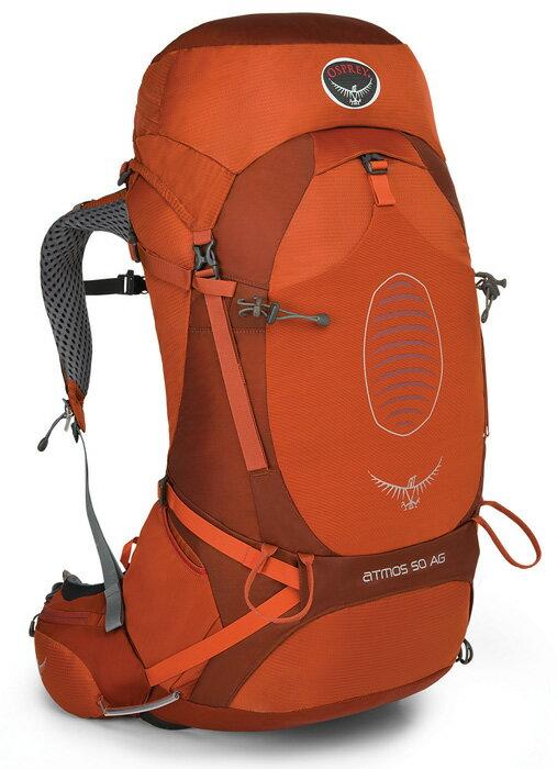 【鄉野情戶外專業】 Osprey |美國| ATMOS AG 50 網架輕量登山背包 休閒 健行 登山 旅行背包-朱紅M Atmos50AG-CR