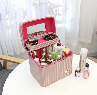 化妝盒 化妝包新款大容量多功能手提化妝箱便攜專業可愛化妝品簡約收納盒【快速出貨八折搶購】