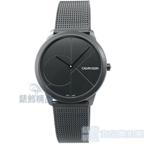 【錶飾精品】CK手錶K3M514B1CalvinKlein極簡時尚40mmPVD黑色薄型米蘭錶帶中性