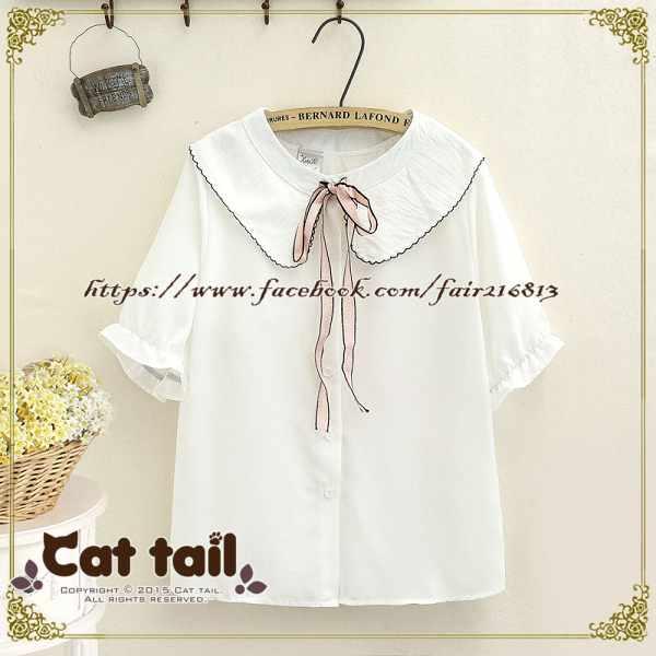 《貓尾巴》TS-0785日系學院風娃娃領綁帶雪紡短袖襯衫(森林系日系棉麻文青清新)