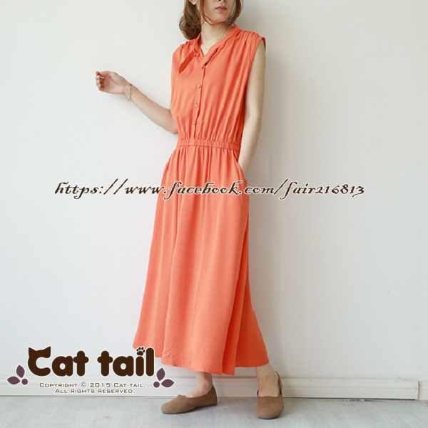 《貓尾巴》LZ-03197韓系純色立領收腰A字無袖連身裙(森林系日系棉麻文青清新)