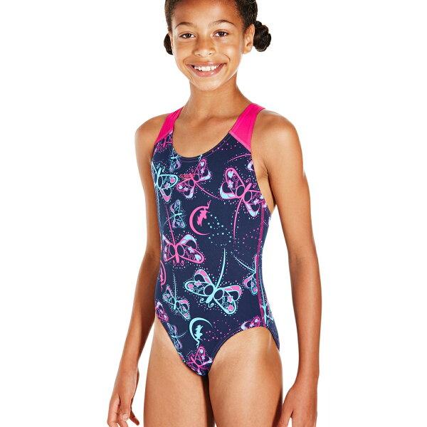 SPEEDO兒童連身競技泳裝SD807386C201藍粉(胸圍:60~70CM)[陽光樂活]