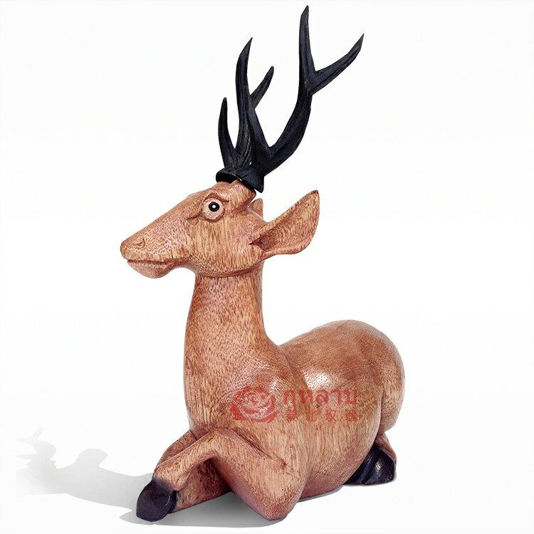 泰國工藝木雕家居裝飾品擺件 鹿 東南亞進口現代創意客廳臥室擺設1入