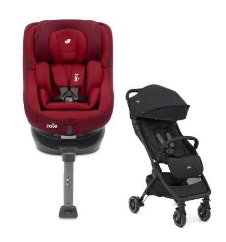 Joie Spin360 isofix 0-4歲全方位汽座-3色現貨+Joie meet pact™輕便型手推車【六甲媽咪】