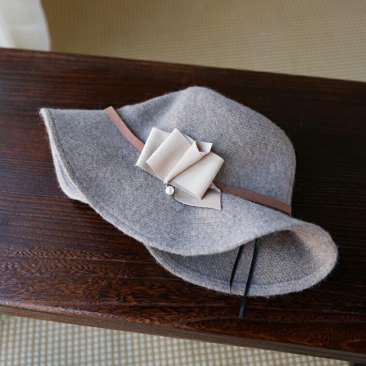 秋冬保暖圓頂大檐毛呢帽女優雅氣質針織帽圓頂漁夫盆帽可折疊帽子1入