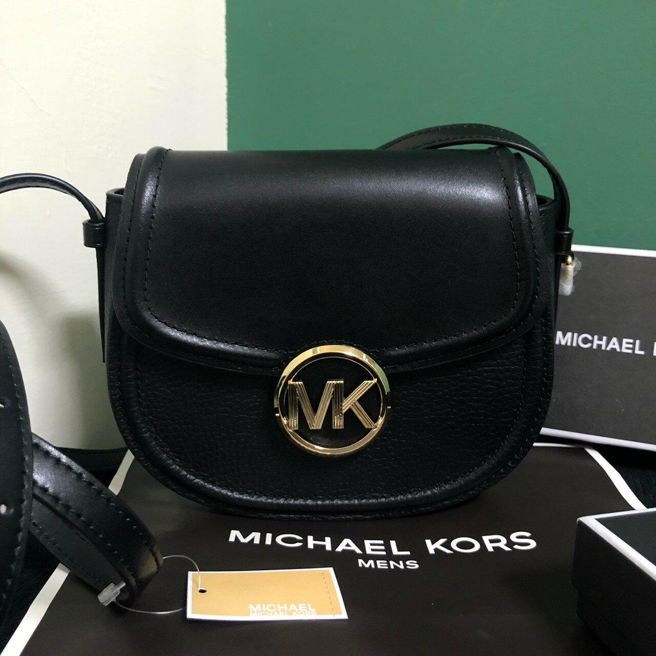 MK 經典logo真皮馬鞍包 經典黑 側背包 斜背包 手拿包 MICHAEL KORS 現貨 美國代購