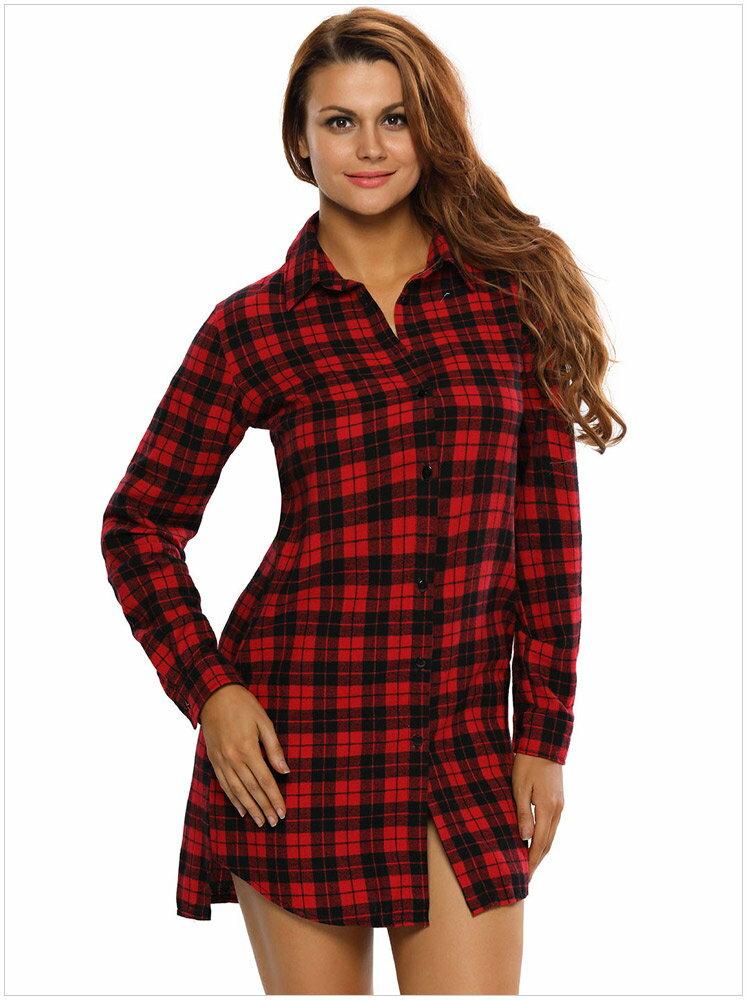 歐美新品女裝秋冬時尚時髦格子襯衫西裝領長袖連身裙洋裝 22848