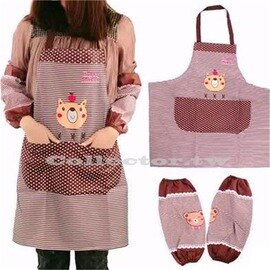 【超取299免運】韓版小熊條紋防水圍裙 附袖套 卡通廚房家事圍裙