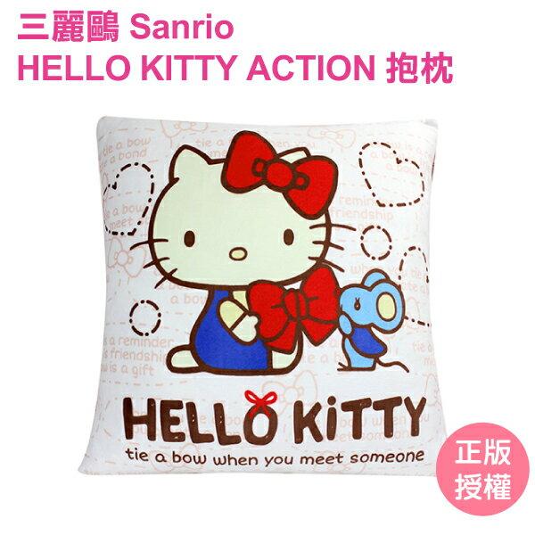KT2038-HELLO KITTY ACTION 小圓筒抱枕 三麗鷗 靠枕 沙發枕 腰枕 粉紅 禮物【蕾寶】