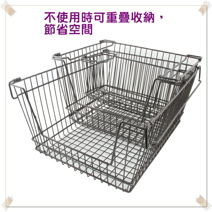 【凱樂絲】媽咪好幫手堆疊鐵線收納籃  一組三入促銷價899 - 自由DIY 空間利用 透氣通風, 客廳, 廚房, 衣櫃適用 4