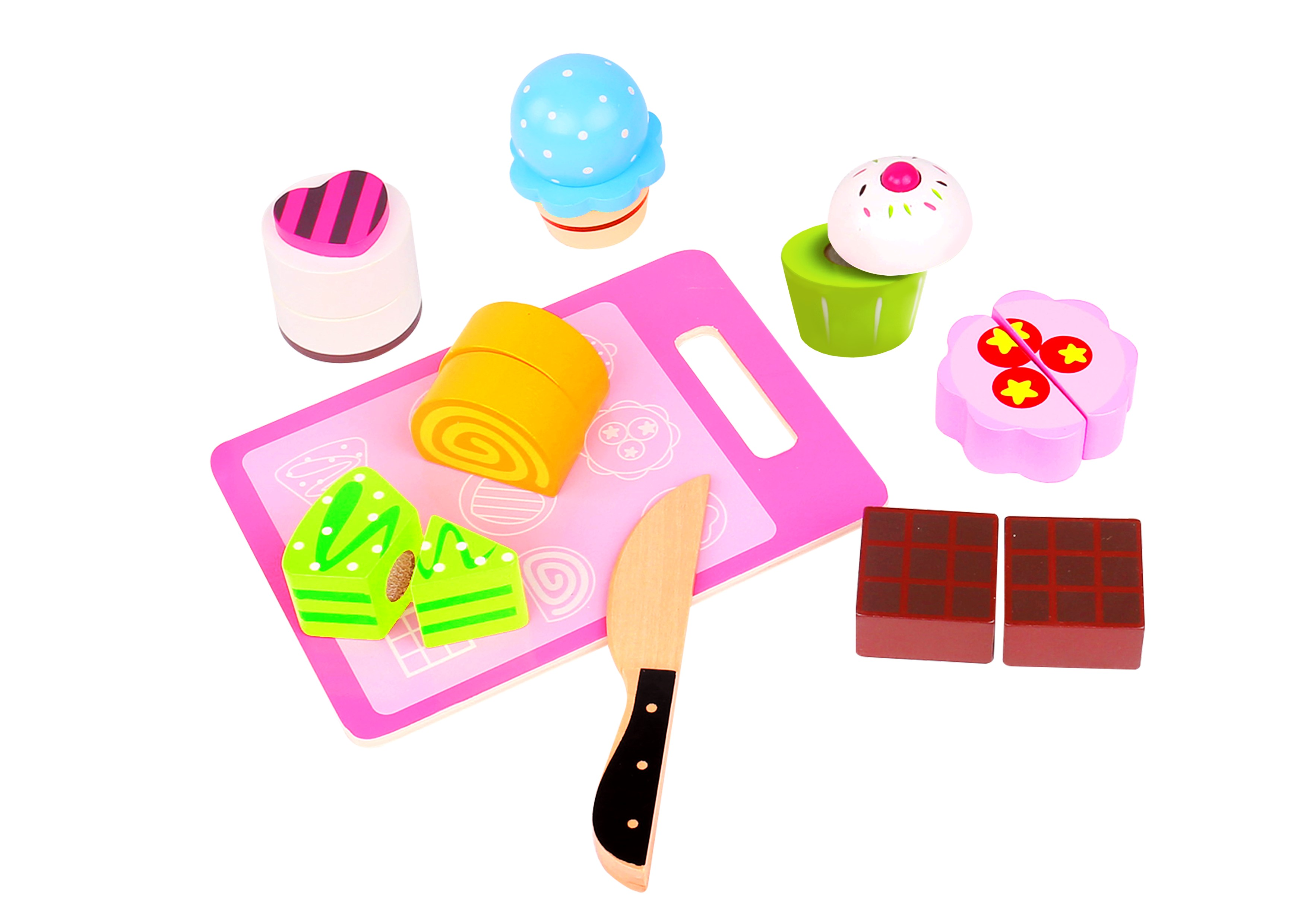 Wondrous Toysters Wooden Dessert Cutting Play Food Set Wood Toys For Kids Premium Quality Pretend Children Kitchen Cooking Playset Learning Resources Home Interior And Landscaping Ymoonbapapsignezvosmurscom