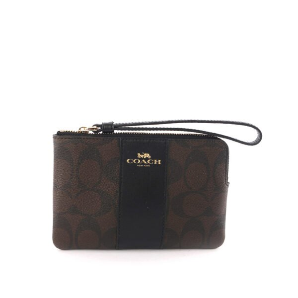 【COACH】皮革+PVC LOGO L型拉鍊手拿包(巧克力色) F58035 IMAA8
