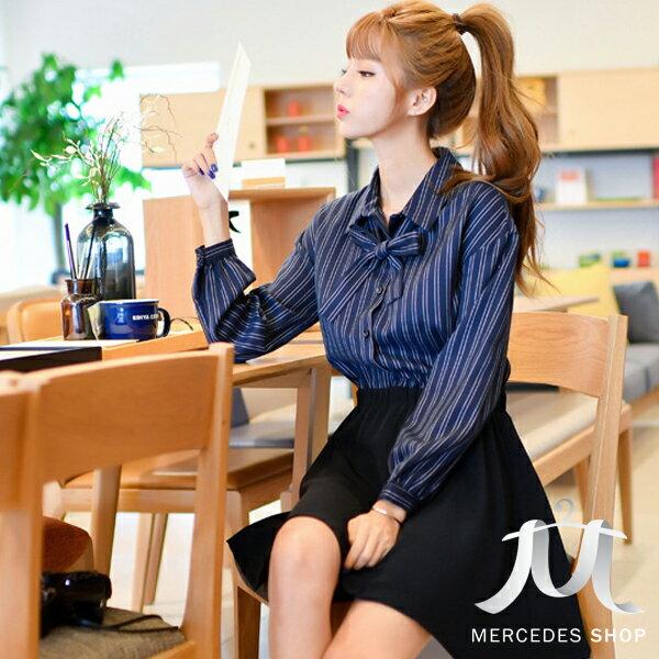 ^~ 6折^~  OL蝴蝶結領襯衫拼接彈性修身洋裝~S~XL ~ 梅西蒂絲^(  ^)