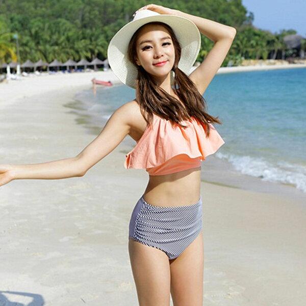 泳衣性感粉色吊帶荷葉邊高腰條紋三角兩件式泳衣【O3467】雙兒網☆