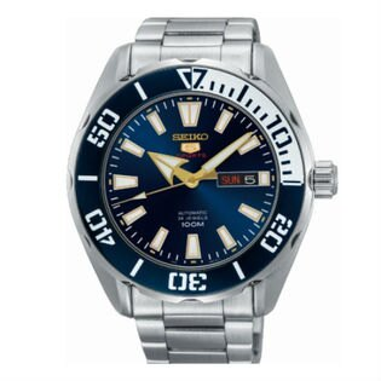 Seiko精工錶4R36-06R0B(SRPC51J1)自由徜徉5號機械腕錶腕錶銀*藍面46mm