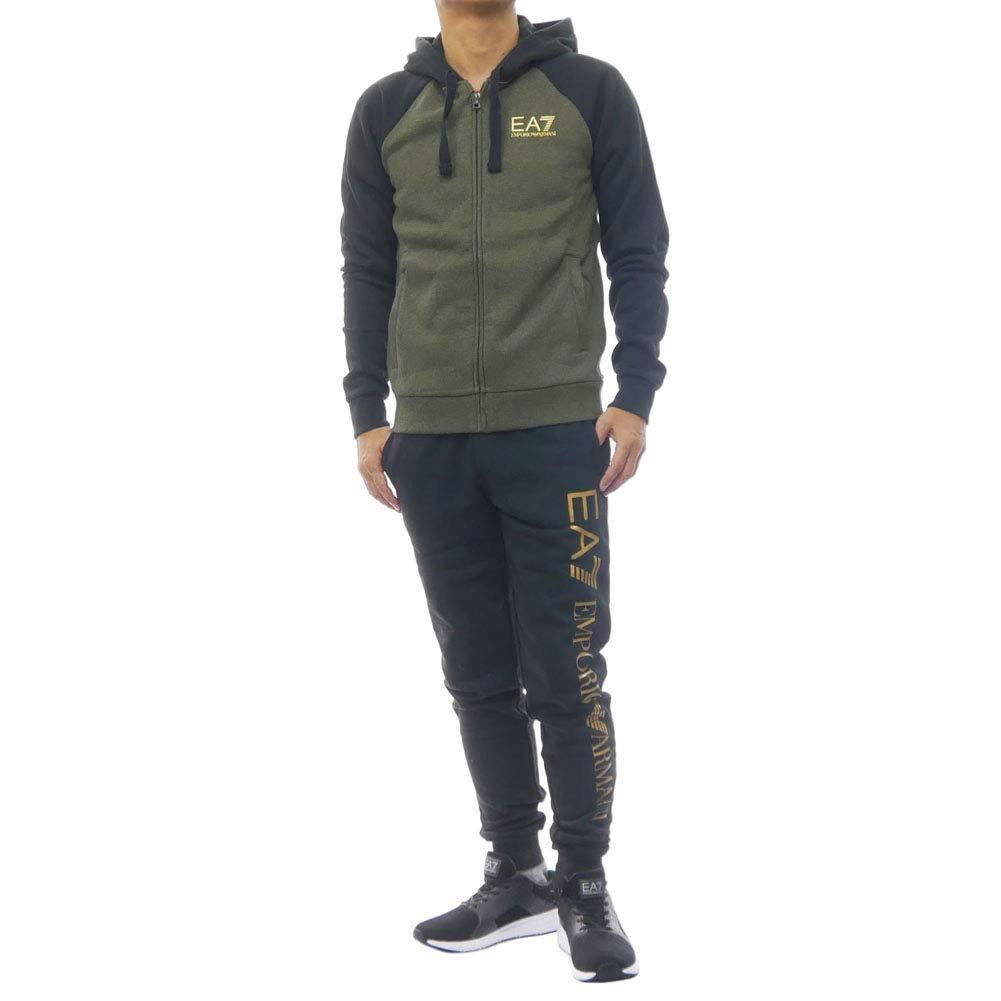美國百分百【Emporio Armani】 長袖外套 褲子長褲 運動褲 棉質 EA7 套裝 黑綠色 XS號 J651