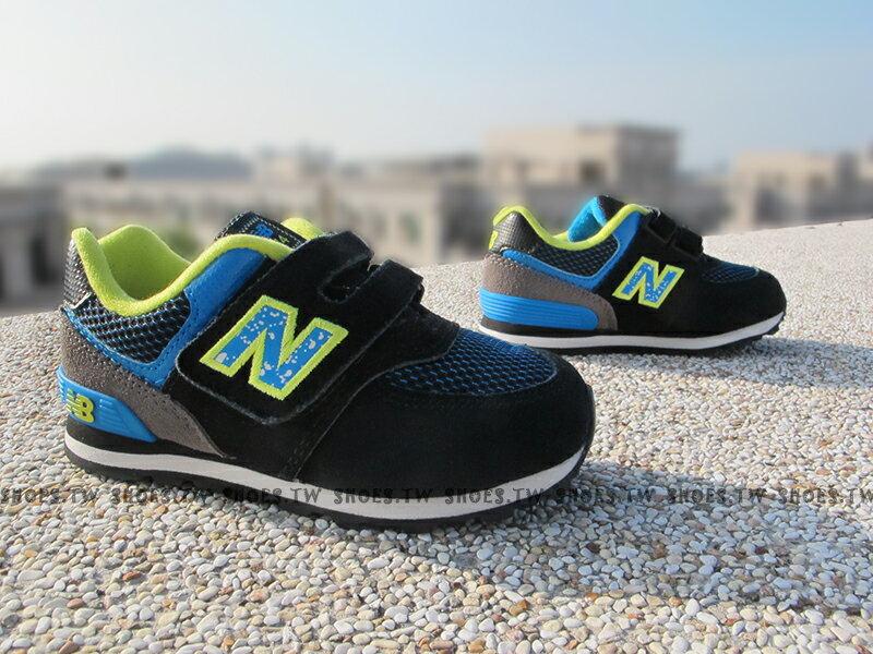 [15CM] Shoestw【KG574O3I】NEW BALANCE 574 童鞋 運動鞋 小童 黑藍螢光 麂皮 潑墨