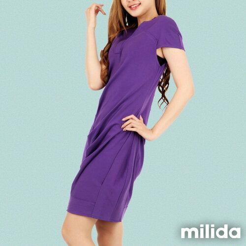 【Milida,全店七折免運】-春夏商品-V領款-修身氣質洋裝 1