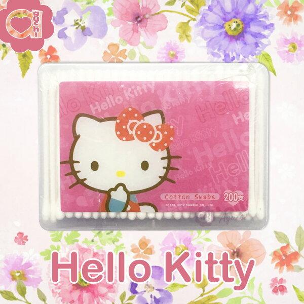 HelloKitty凱蒂貓塑軸棉花棒200支(盒裝)高韌性塑膠軸桿不含螢光劑