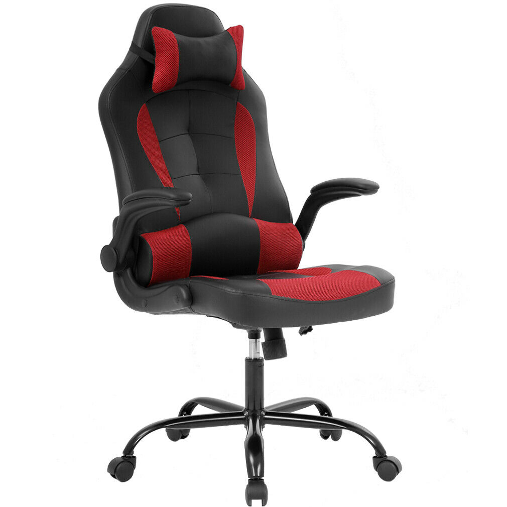 Office Chair Armrest Gaming Chair Ergonomic High-Back Racing Style Office Chair Adjustable  Headrest 0