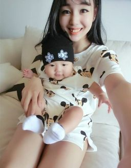 EMMA商城~兒童款滿版米奇短袖上衣 韓版親子裝