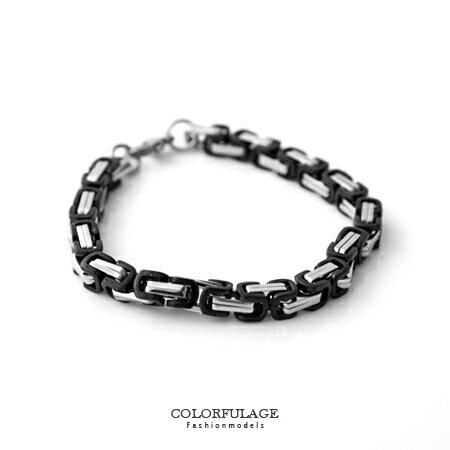 手環 黑銀雙色特殊鍊條式環扣白鋼手鍊 立體層次感 精緻 樣式特別 柒彩年代~NA357~