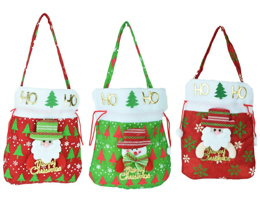 X射線【X294396】公仔抱英文字束口禮物袋,聖誕節/交換禮物/掛飾/裝飾/吊飾/聖誕襪/禮物袋/糖果袋