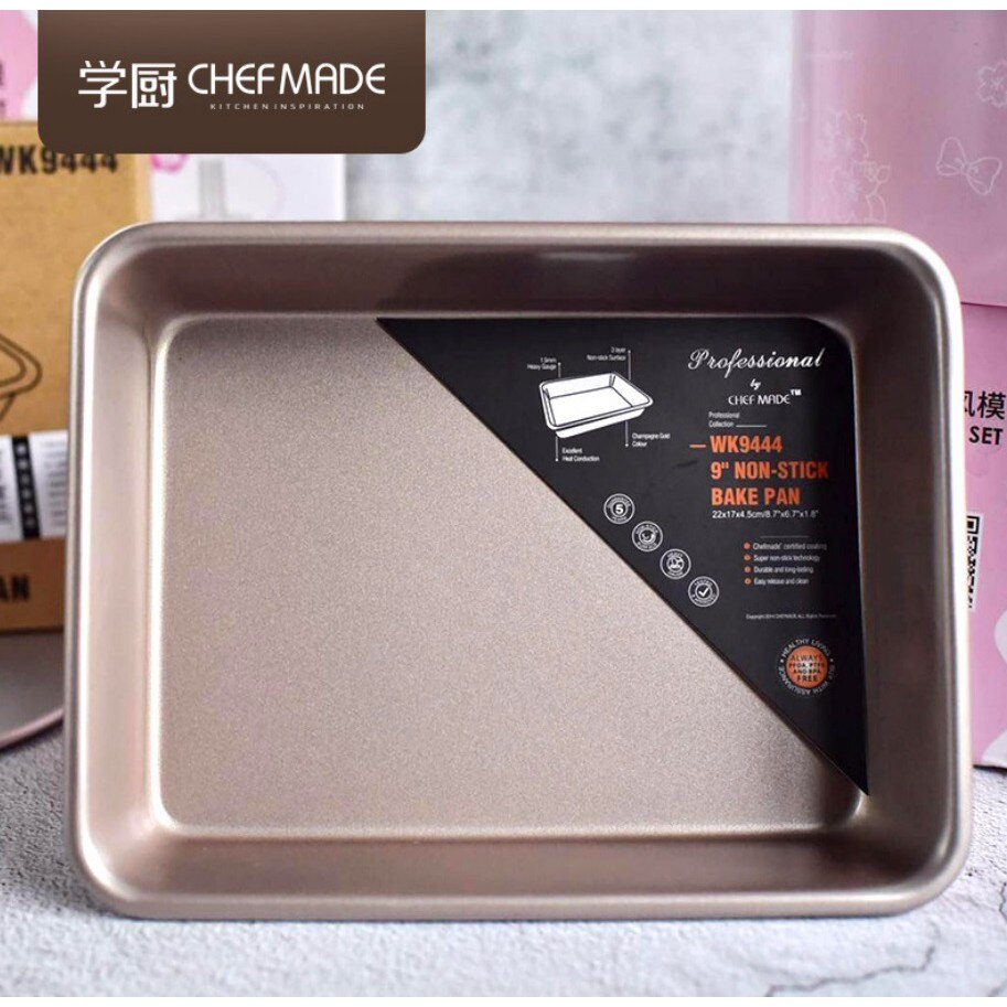 【學廚WK9444-9寸深長方形烤盤】不沾蛋糕模 不沾模 蛋糕模烘焙模 面包模 烘培