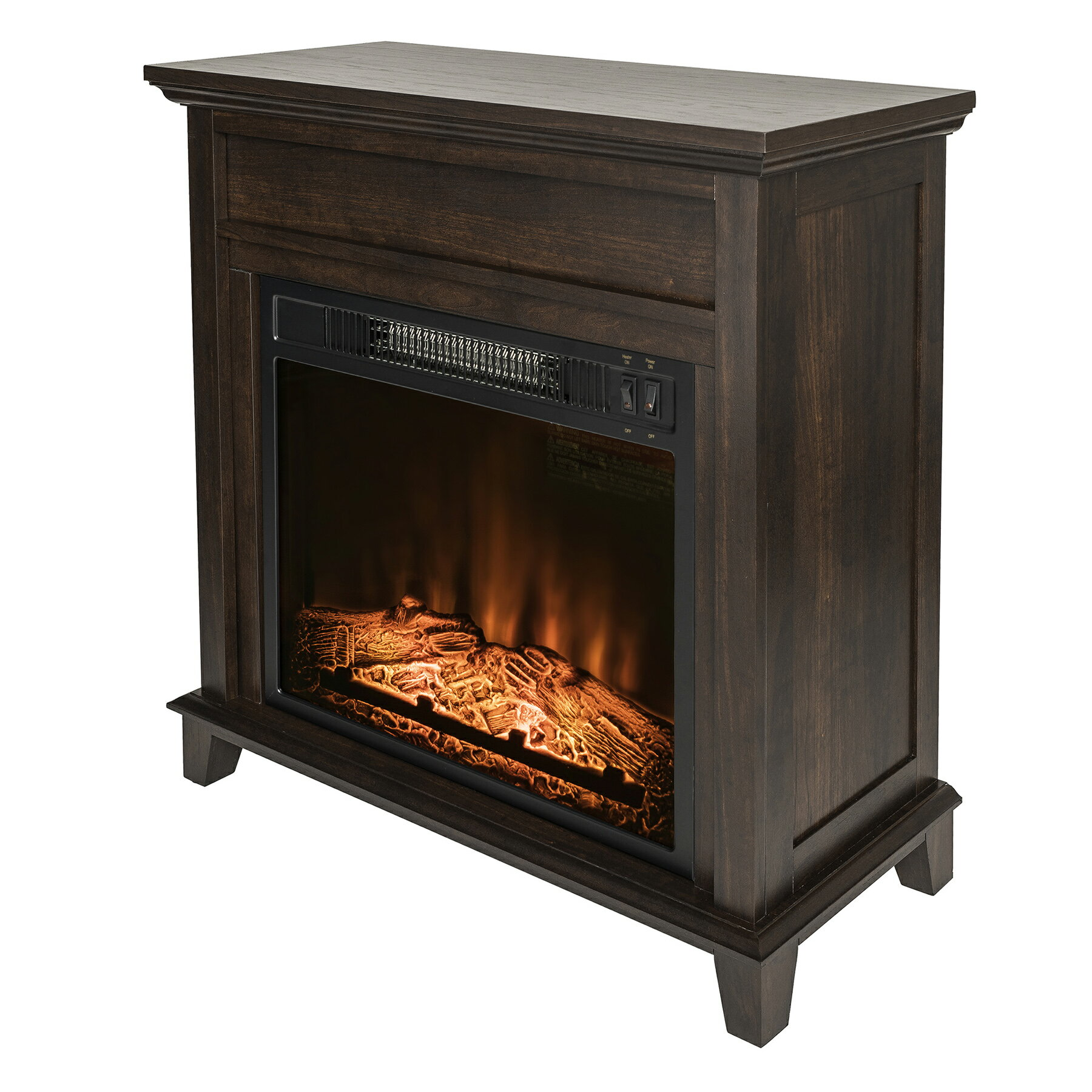 "AKDY 27"" Freestanding Wooden Mantel Electric Fireplace Stove Heater 2"
