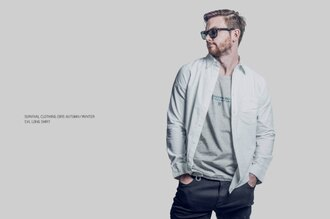 SURVIVAL 15 A/W SVL long Shirt - 素面襯衫 黑 / 白