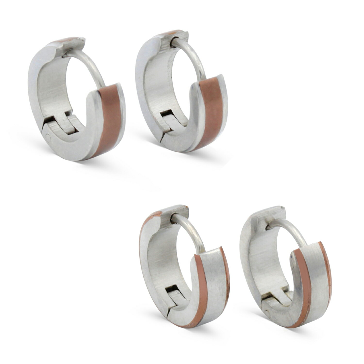 Huggie Hoop Earrings Stainless Steel Ear Hug Hoops Deep Rose Gold Stripes Hinge Clasp Gift For