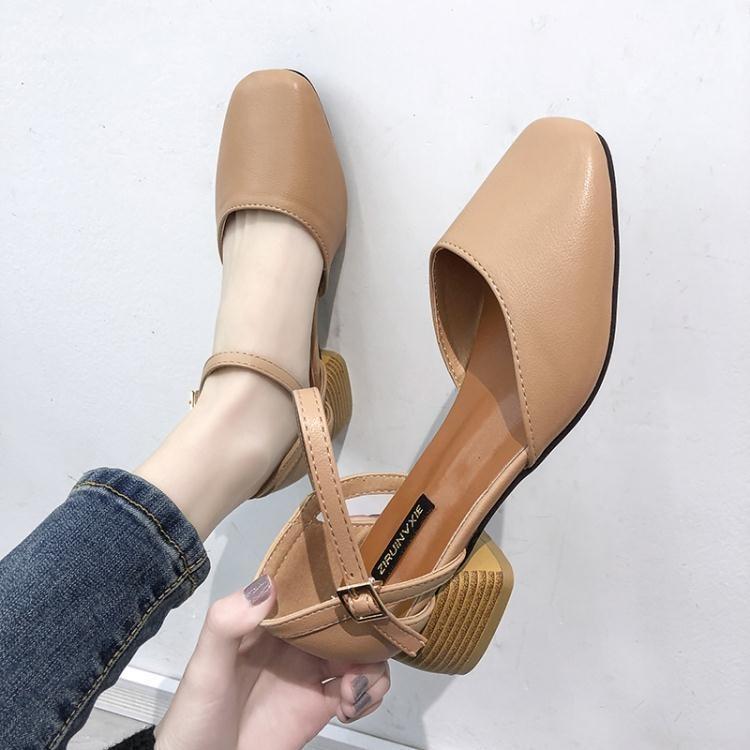 網紅包頭涼鞋仙女風學生百搭新款夏季女鞋一字高跟鞋粗跟中跟