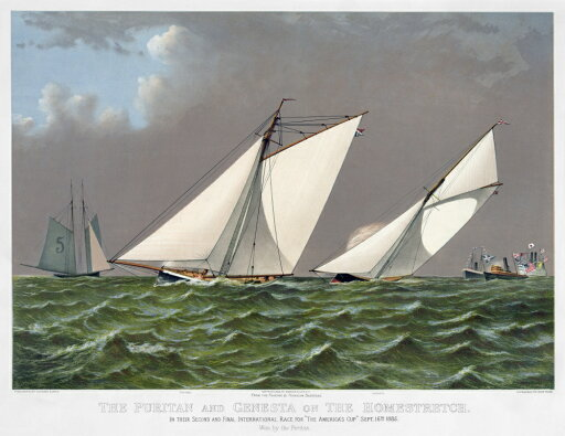 AmericaS Cup 1885 Nthe American Winner Puritan With The English Challenger Genesta On The Homestretch Of Their Second And Final International Race On 16 September 1885 Color Lithograph By Currier & Iv 811960d65b13cef04affd749b3e1a33c