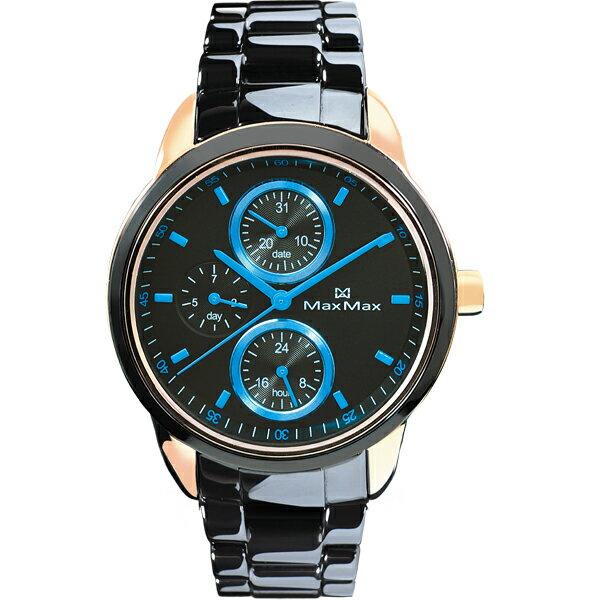 Max Max MAS7003S-7時尚湛藍三眼黑陶瓷腕錶/黑面37mm