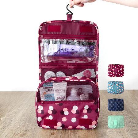 韓版 新款印花可掛式盥洗收納包 盥洗包 洗漱口包 化妝包 手提式 防水 旅行 出國【N201513】