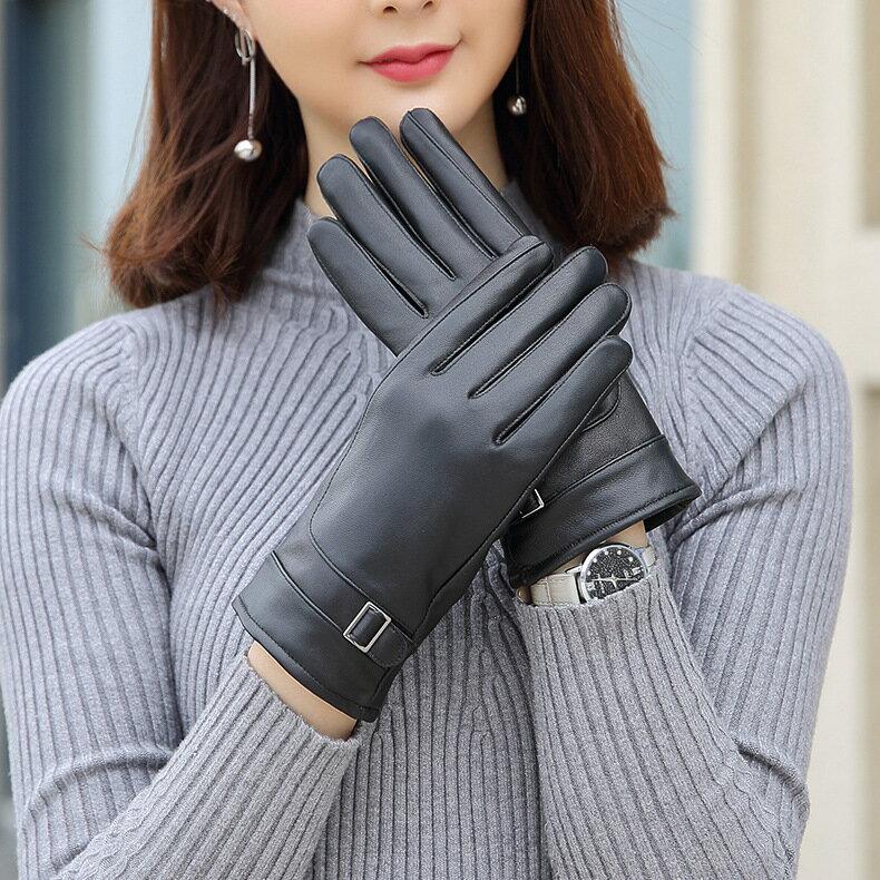 真皮手套保暖手套-羊皮加絨加厚搭扣女手套73wm70【獨家進口】【米蘭精品】 1