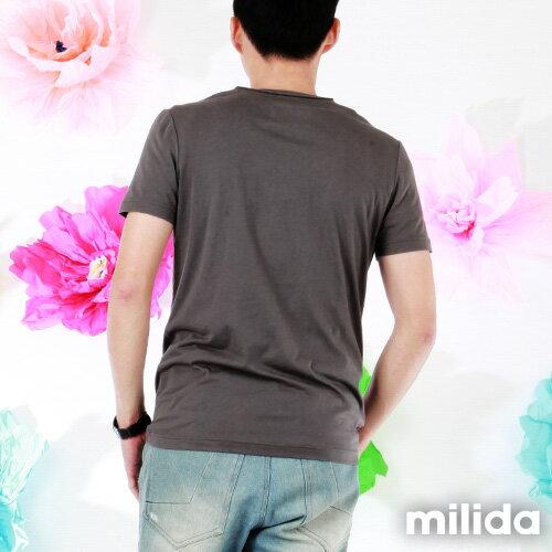 【Milida,全店七折免運】男生款-舒適圓領拼貼T恤 5