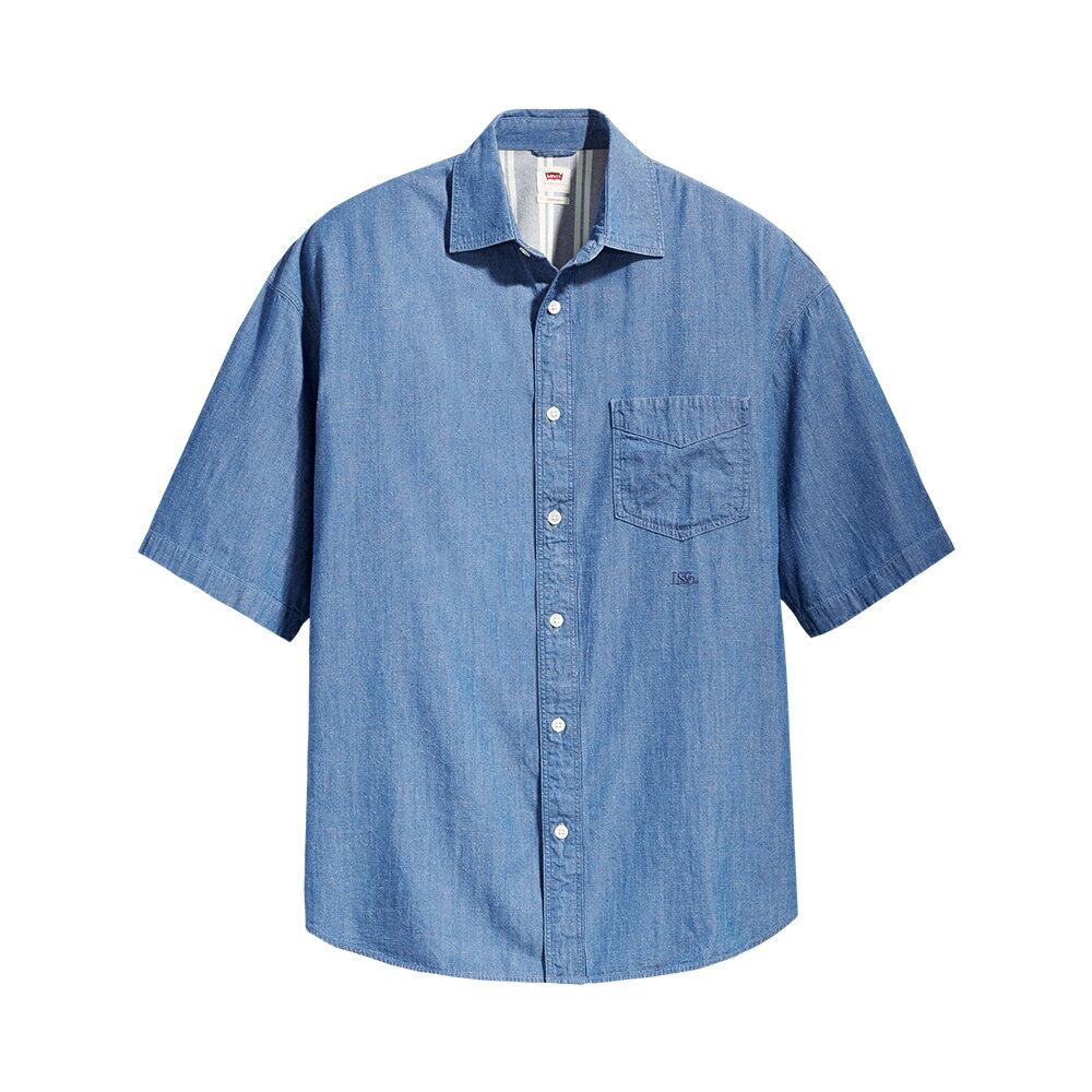 Levis 男款 Stay Loose 復古寬鬆版短袖牛仔襯衫 / 單口袋刺繡細節 -CO