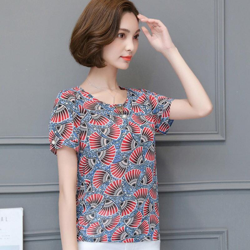 <br/><br/>  FINDSENSE G5 韓國時尚 寬鬆 藍底紅花 百搭 雪紡上衣 淑女 圓領 印花 打底衫<br/><br/>