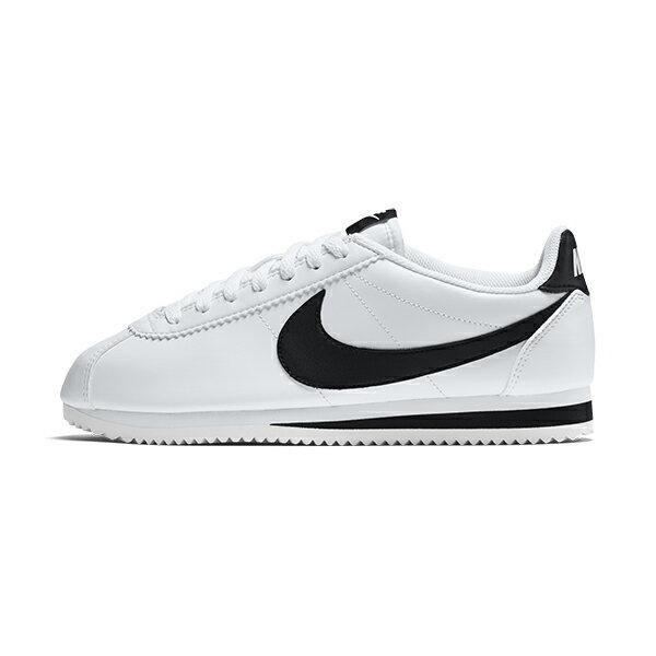 【NIKE】WMNS CLASSIC CORTEZ LEATHER 休閒鞋 阿甘鞋 白色 黑勾 女鞋 -807471101
