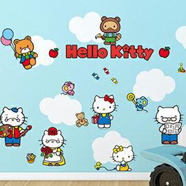 WallFree 窩自在 DIY 無痕創意牆貼/壁貼-Hello Kitty的家人與朋友