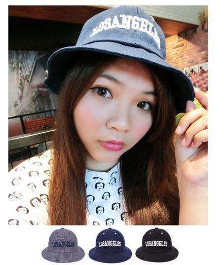 小熊日系* 刺繡字母 條紋 素色 漁夫帽 盆帽 帽子 女生配件 休閒 防曬