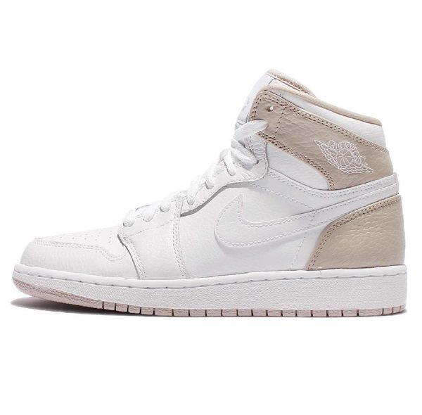 NIKE Air Jordan 1代 女鞋 大童 休閒 喬丹 復古 白 卡其 【運動世界】 332148-116