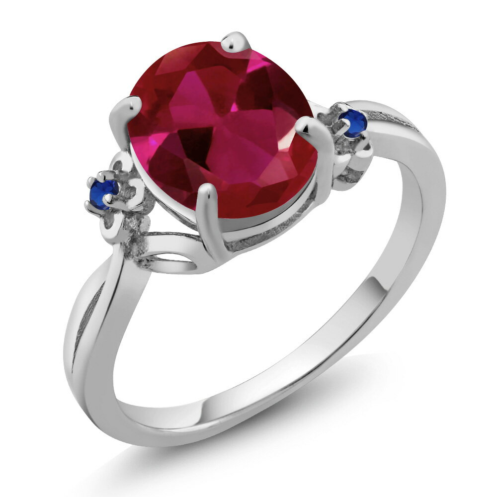 2.54 Ct Oval Red Created Ruby Blue Simulated Sapphire 925 Sterling Silver Ring 0