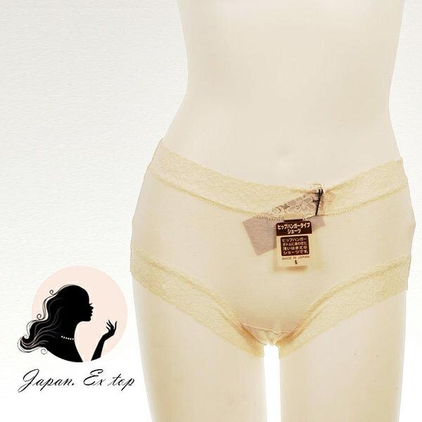 <br/><br/> 日本直送-純淨棉質蕾絲花邊內褲-膚<br/><br/>