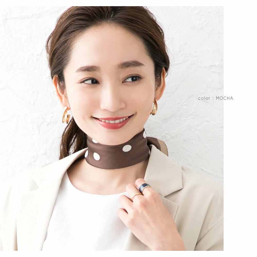 日本CREAM DOT  /  スカーフ 正方形 ファッション小物 バッグ ドット柄 くすみカラー 大人 上品 エレガント 華奢 シンプル フェミニン モカ ベージュ ブラウン ブラック  /  a03515  /  日本必買 日本樂天直送(1690) 7