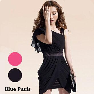 短洋裝-斜肩捲摺裙擺荷葉袖雪紡洋裝【29055】藍色巴黎《2色》現貨+預購