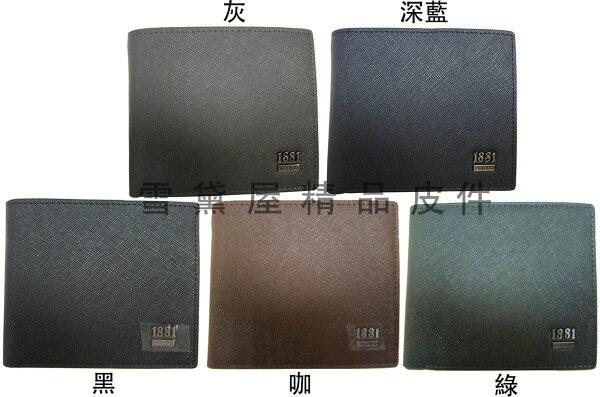 ~雪黛屋~18NINO81短夾男紳士短型皮夾進口專櫃100%進口牛皮革標準尺寸固定型證夾BNI700-072-1803