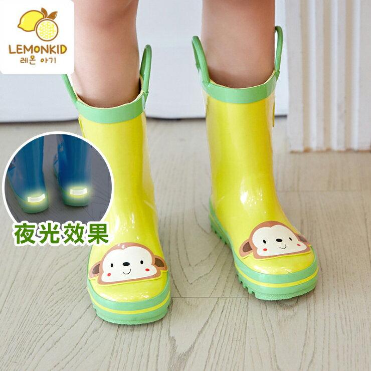 Lemonkid◆活力小花猴子安全夜光設計手提式提環橡膠兒童雨鞋-黃色